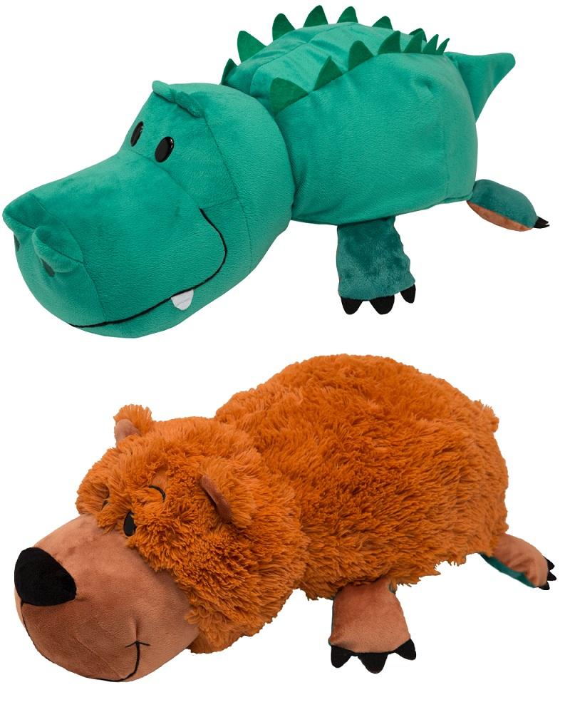 Купить Мягкая плюшевая игрушка-вывернушка 2 в 1 - Медведь-Крокодил, 40 см, 1TOY