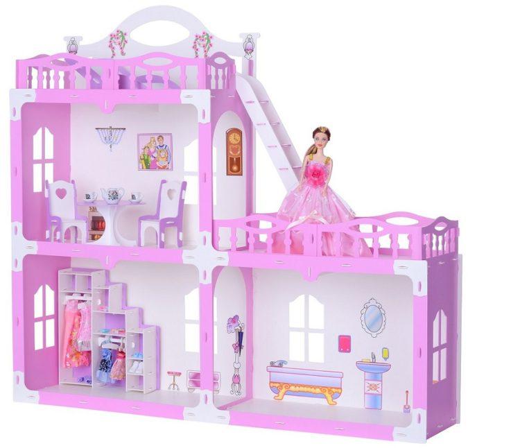 Домик для кукол - Анна, бело-розовый, с мебелью