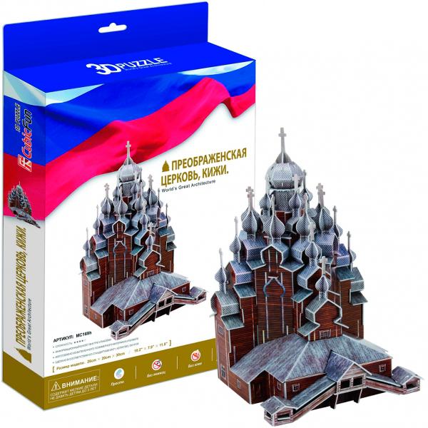 Купить 3D пазл из пенокартона – Преображенская церковь, Кижи Россия, 126 деталей, Cubic Fun