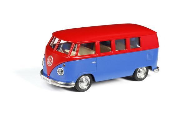 Купить Машина металлическая инерционная Автобус инерционный Volkswagen Type 2 T1 Transporter, цвет матовый красный с синим, 1:32 ), RMZ City