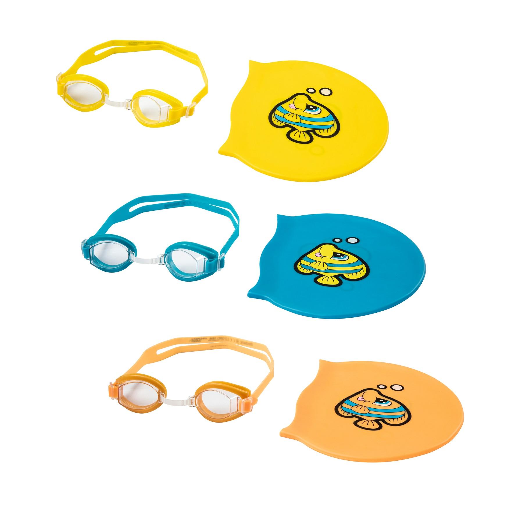 Купить Набор для плавания с очками и шапочкой, от 3 лет, 3 цвета, Bestway