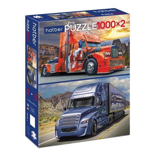 Купить Пазл Premium 1000+1000 элементов 2 картинки в 1 коробке, размер 45 х 68 см - Trucks Грузовики, Hatber
