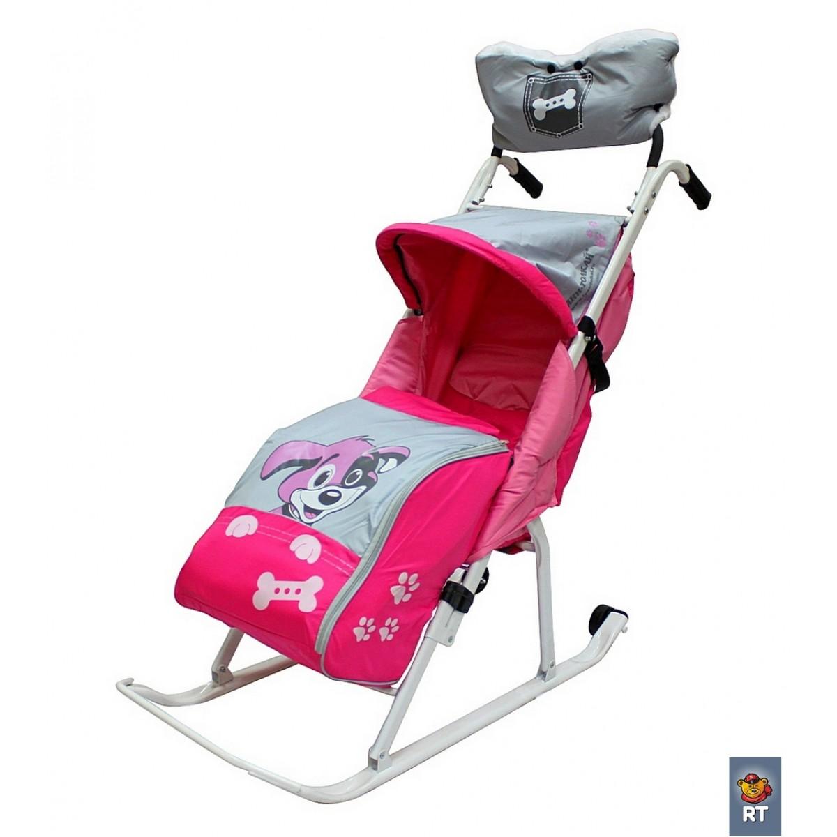 Купить Санки-коляска Комфорт Люкс 11 - Любопытный щенок с колесиками и муфтой, розовый, RT