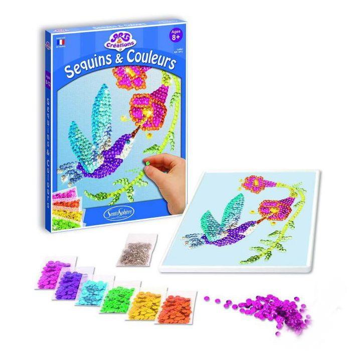 Купить Набор для детского творчества – Колибри, с пайетками и клеем, SentoSpherE