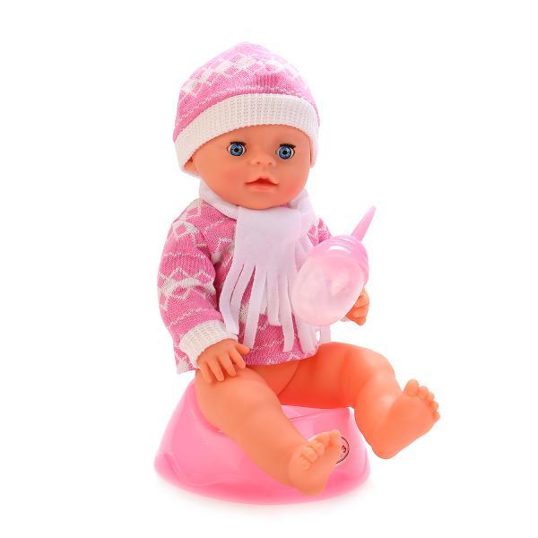 Пупс 3 функции, пьет и писает, с дополнительной одеждой и аксессуарами, 40 см.Куклы Карапуз<br>Пупс 3 функции, пьет и писает, с дополнительной одеждой и аксессуарами, 40 см.<br>