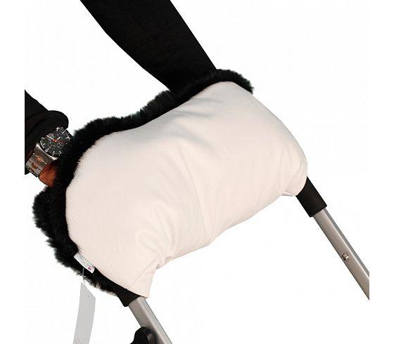 Купить Муфта для рук на коляску, ткань бежевая/мех черный, Moze