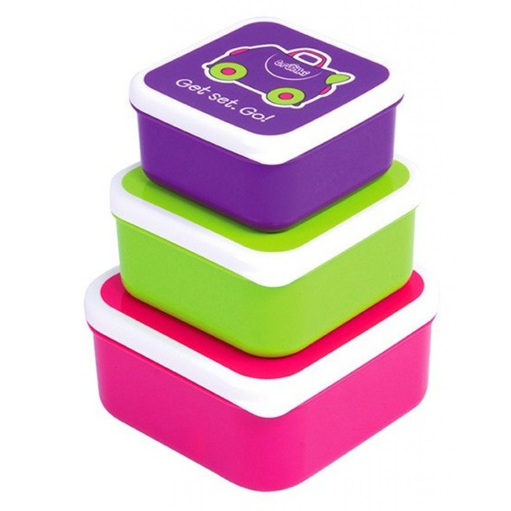 Trunki Набор из 3 контейнеров для еды: розовый, фиолетовый и зеленый фото