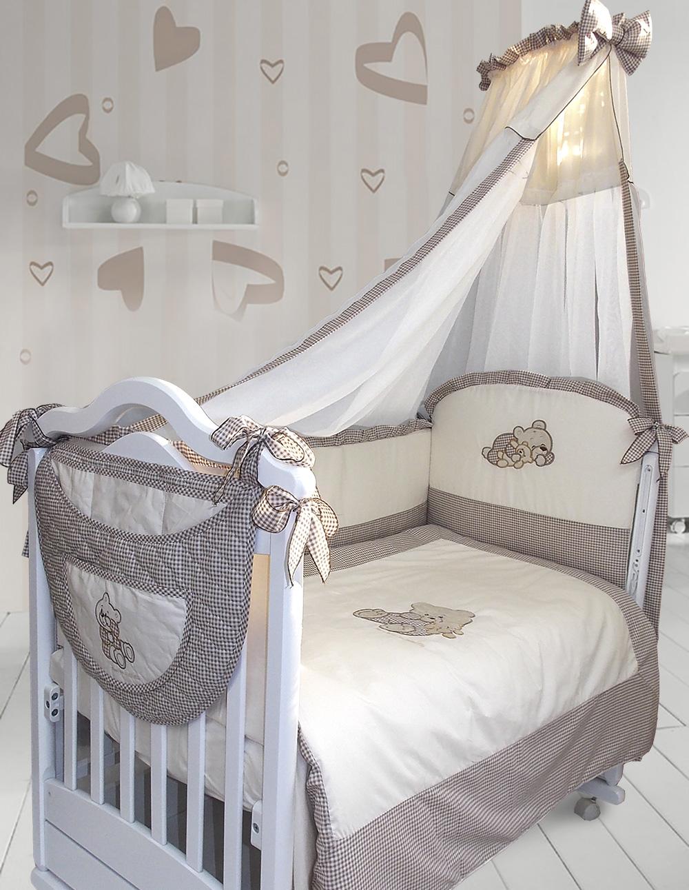 Комплект в кроватку – Мими, 7 предметов, капучиноДетское постельное белье<br>Комплект в кроватку – Мими, 7 предметов, капучино<br>