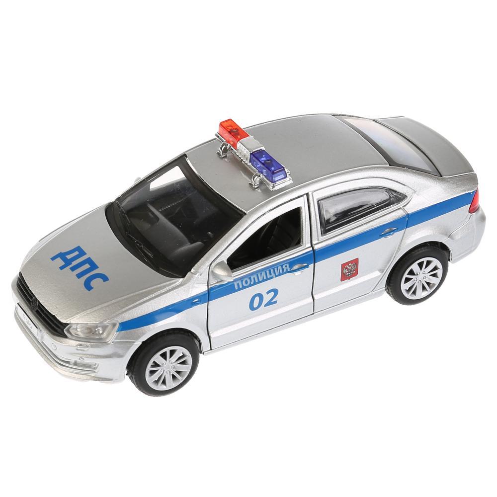Купить Металлическая инерционная модель – VW Polo Полиция, 12 см, Технопарк