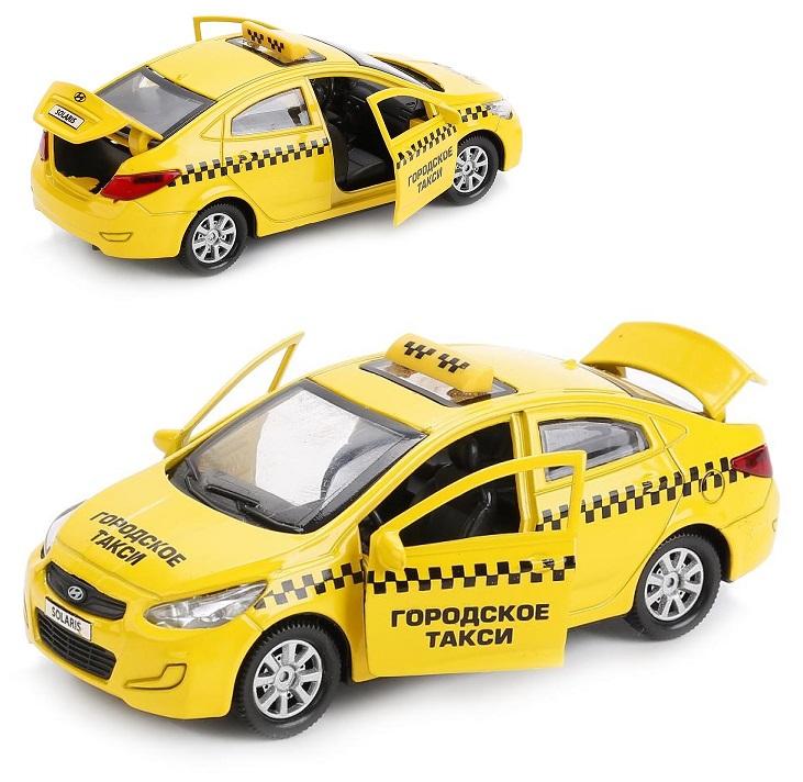 Купить Машина металлическая Hyundai Solaris Такси 12 см, открываются двери и багажник, инерционная, Технопарк