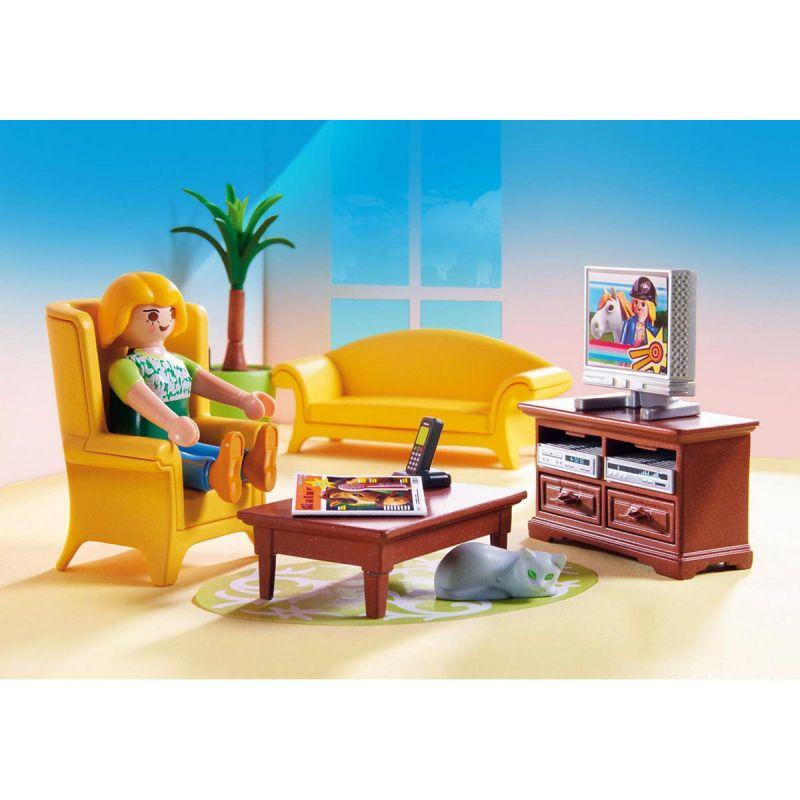 Купить Игровой набор – Кукольный дом: Гостиная с камином, свет, Playmobil