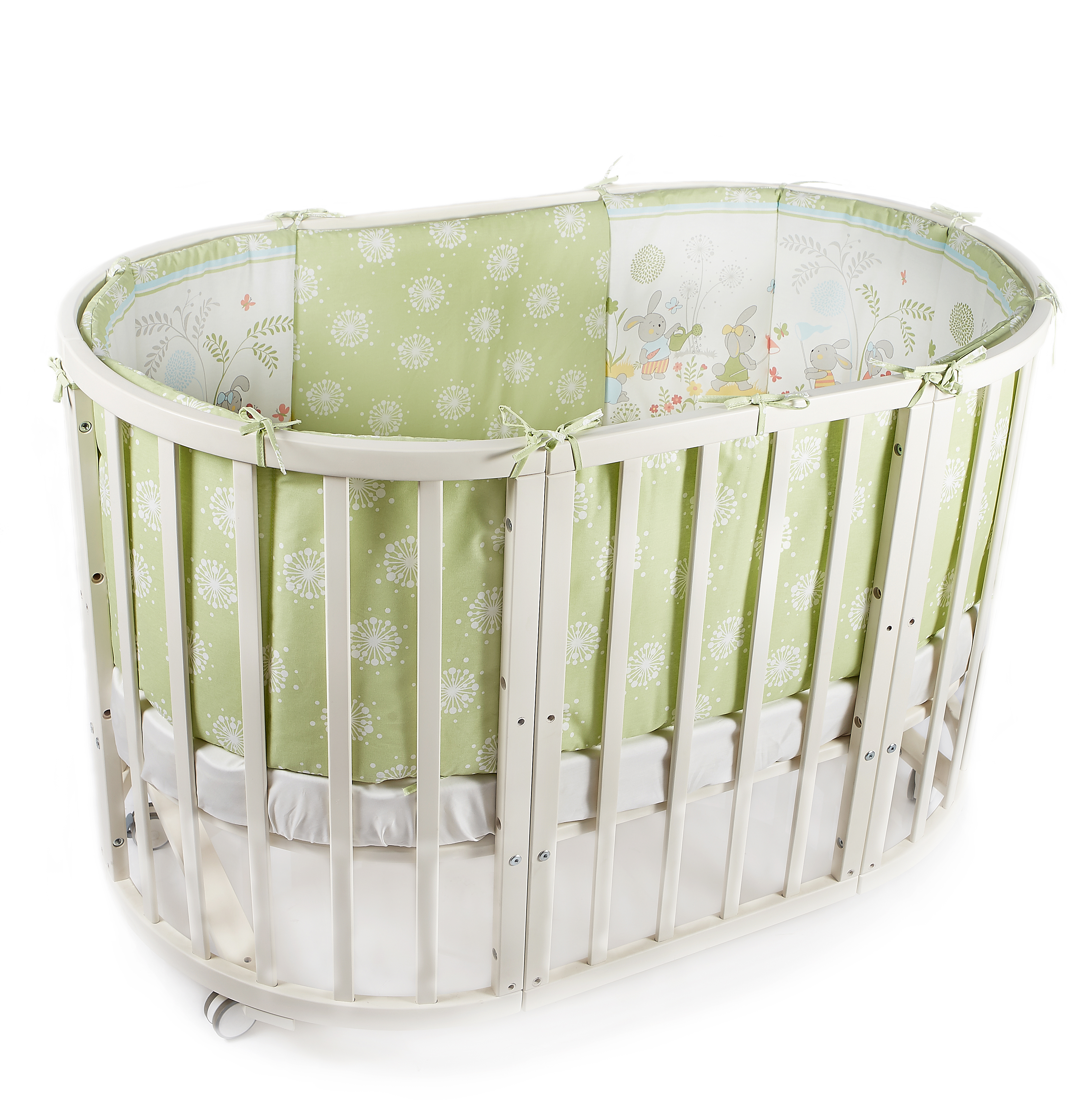 Комплект в кроватку - Sul prato, 6 предметов, зеленыйДетское постельное белье<br>Комплект в кроватку - Sul prato, 6 предметов, зеленый<br>