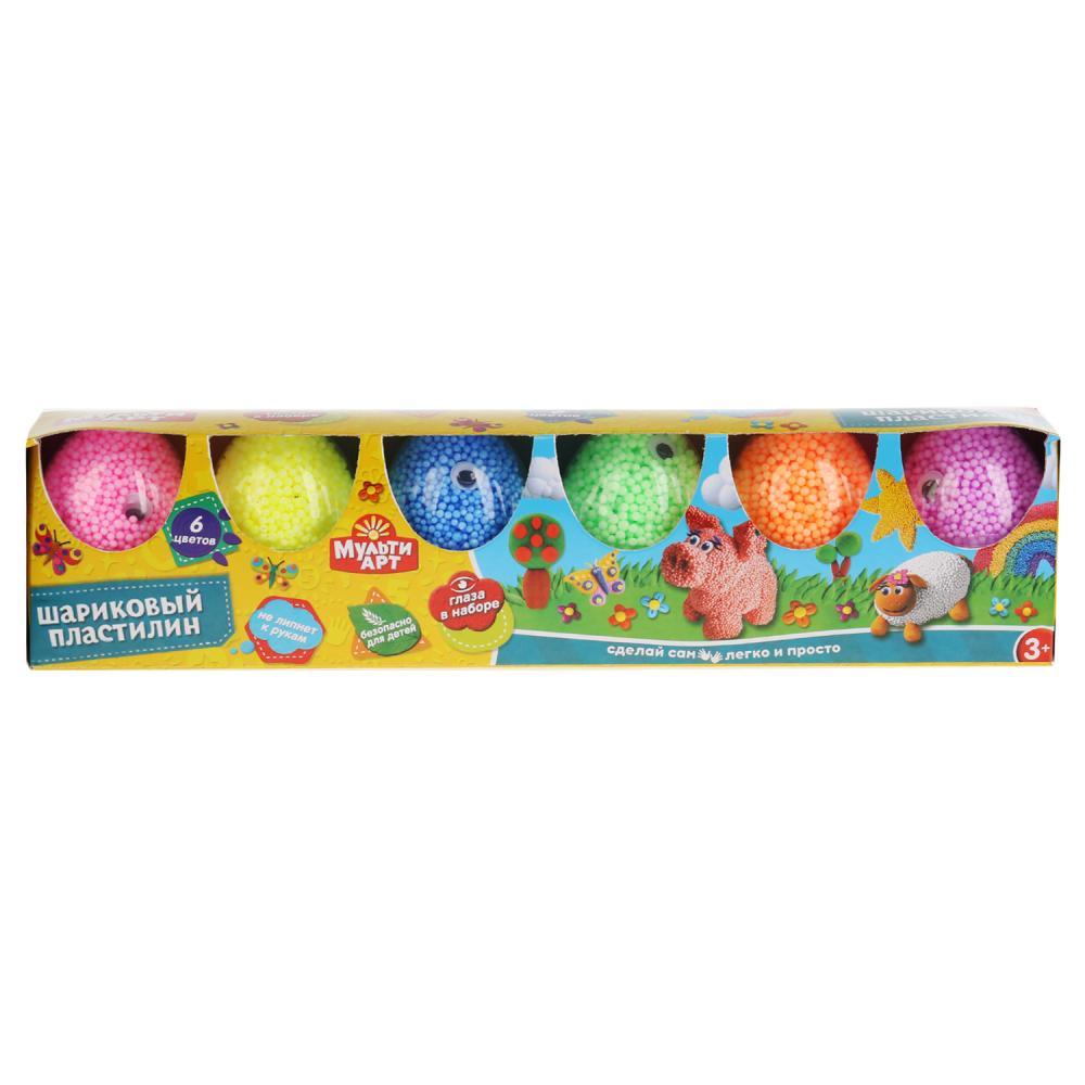 Набор шарикового крупнозернистого незастывающего пластилина + глаза, 6 цветов в яйце фото