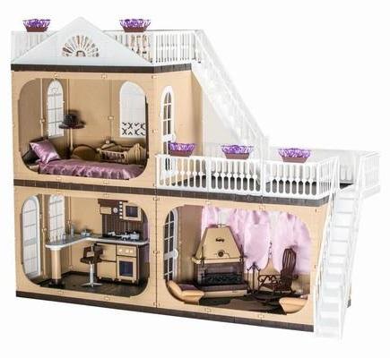 Двухэтажный домик для кукол, высота 90 см. - Кукольные домики, артикул: 93627