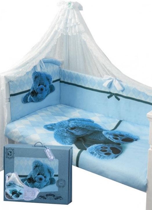 Комплект в кроватку - Я спрятался, голубойДетское постельное белье<br>Комплект в кроватку - Я спрятался, голубой<br>