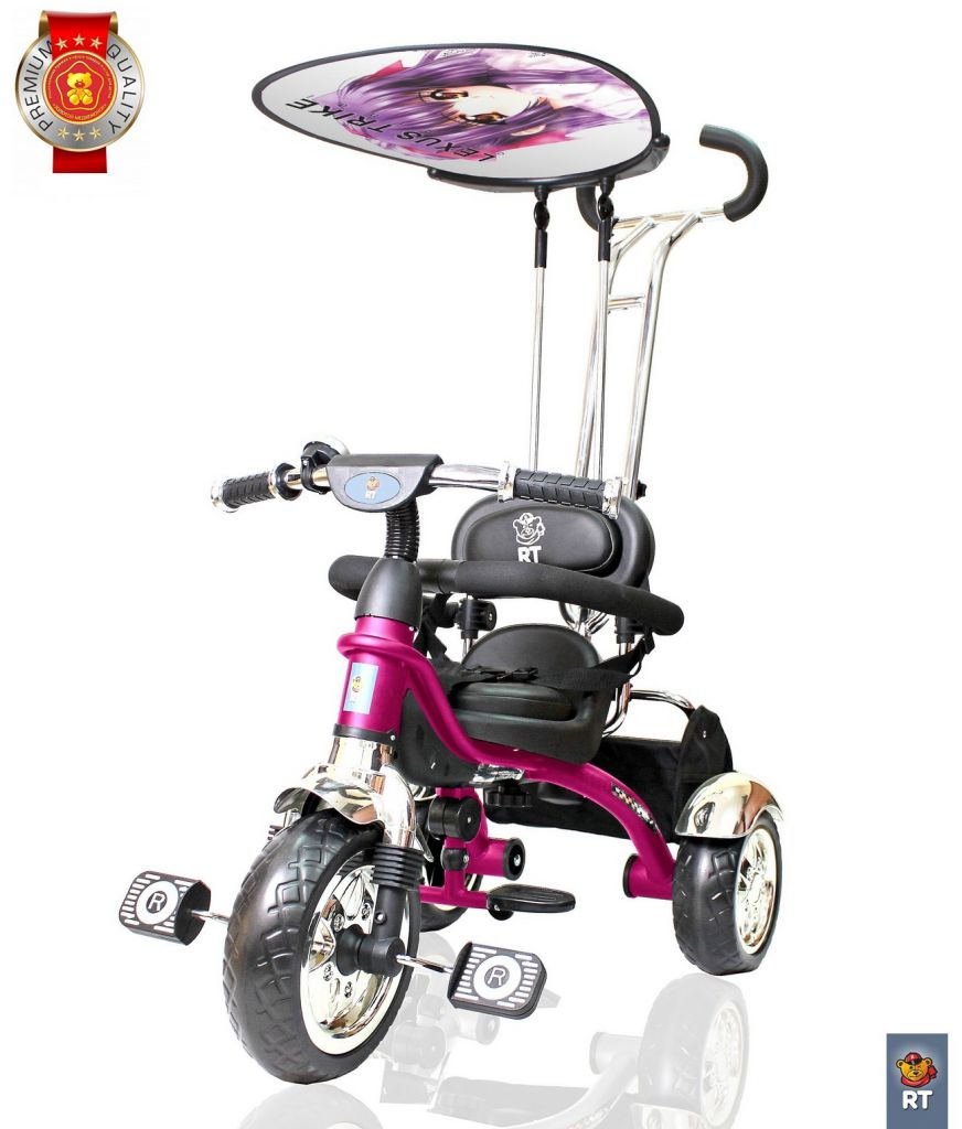 3-х колесный велосипед Lexus Trike Grand Print Deluxe New Design 2014, колеса EVA, цвет – розовый - Велосипеды детские, артикул: 158662