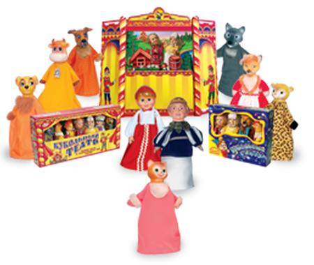 Весна Кукольный театр, 7 персонажей: Дед, Бабка, Аленушка, Волк, Лиса, Медведь, Курочка. В комплекте: сцена, сменные декорации, реквизит,