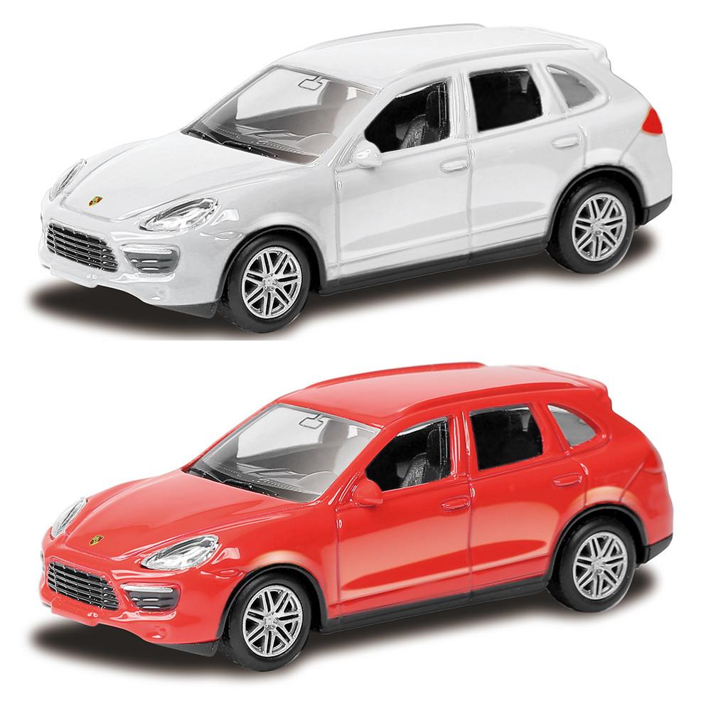 Машина металлическая Porsche Cayenne Turbo 1:64, 2 цвета - белый и красныйPorsche<br>Машина металлическая Porsche Cayenne Turbo 1:64, 2 цвета - белый и красный<br>