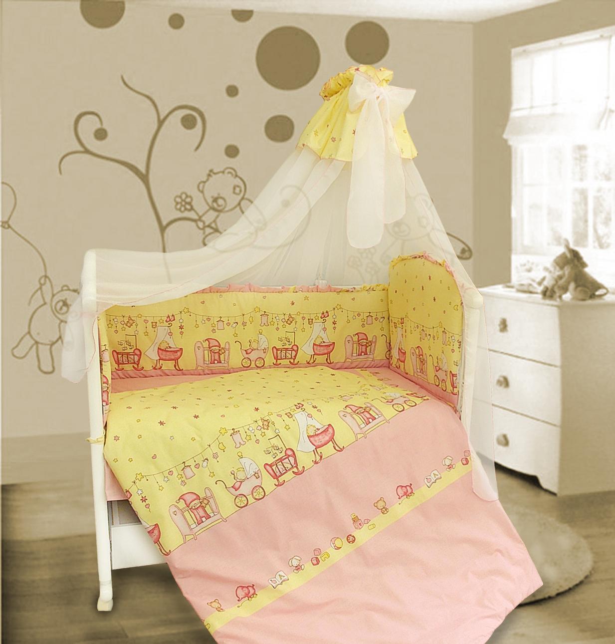 Комплект в кроватку - Забавки, 7 предметов, розовыйДетское постельное белье<br>Комплект в кроватку - Забавки, 7 предметов, розовый<br>