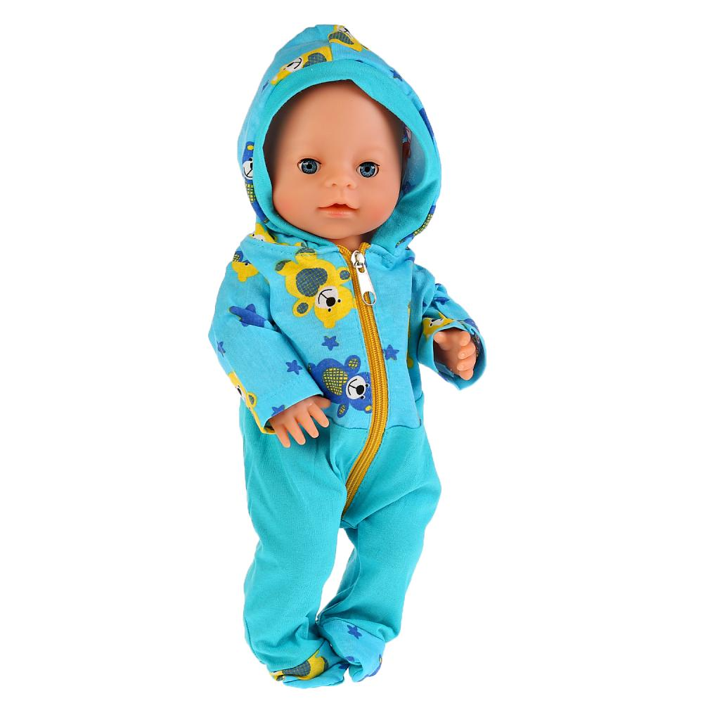 Купить Одежда для кукол 40-42 см – Голубой комбинезон с капюшоном Медвежата, Карапуз