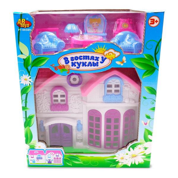 Дом В гостях у куклы с аксессуарами, бело-розовыйКукольные домики<br>Дом В гостях у куклы с аксессуарами, бело-розовый<br>