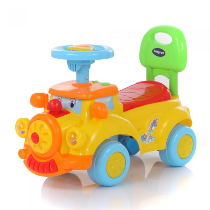 Детская желтая машина-каталка Keeping, звуковые эффектыМашинки-каталки для детей<br>Детская желтая машина-каталка Keeping, звуковые эффекты<br>