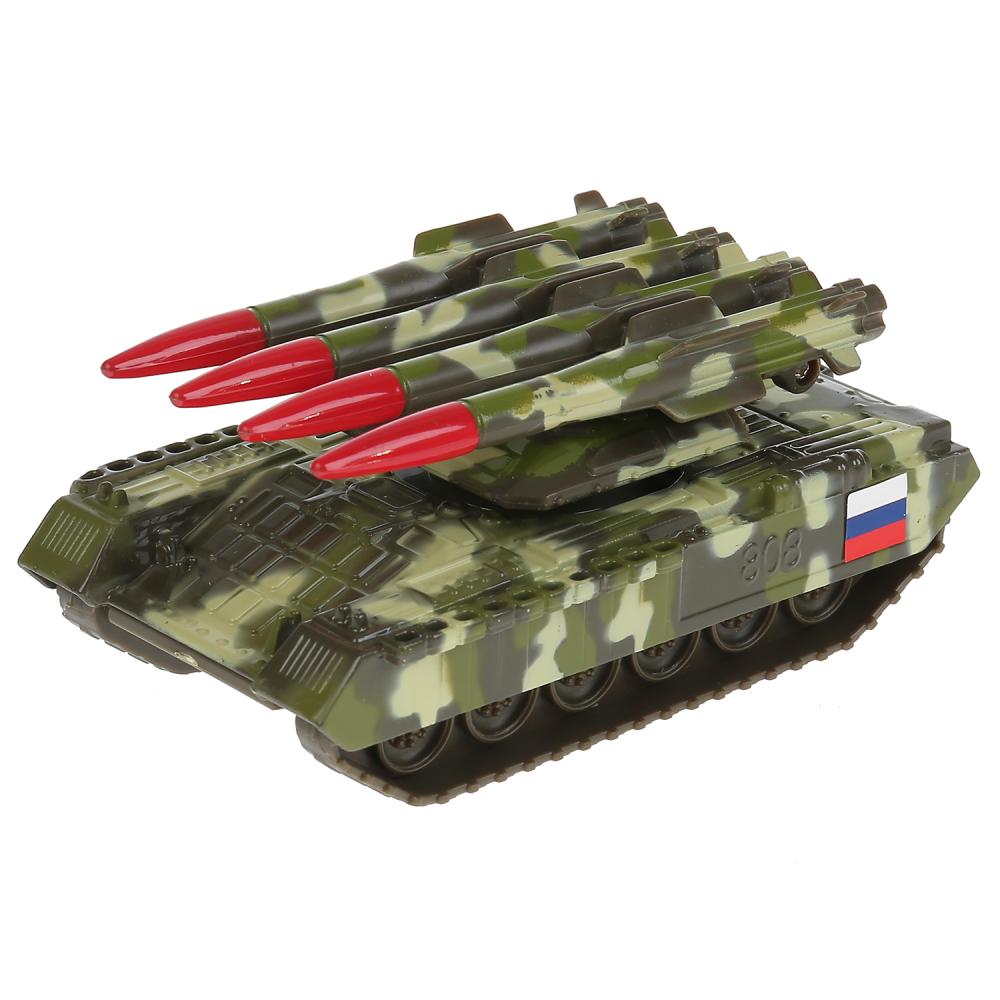 Купить Металлический инерционный Танк с ракетной установкой, 12 см, Технопарк