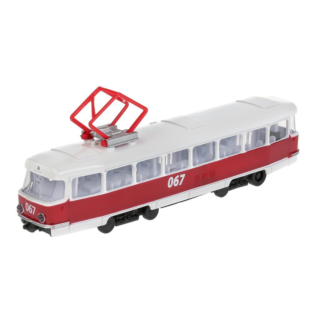 Купить Трамвай металлический 18 см, инерционный, свет-звук, открываются двери, Технопарк