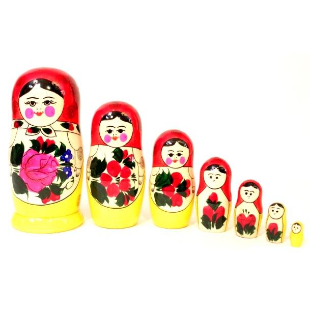 Традиционная матрешка 7 кукольная, 18 см - Деревянные игрушки, артикул: 161879