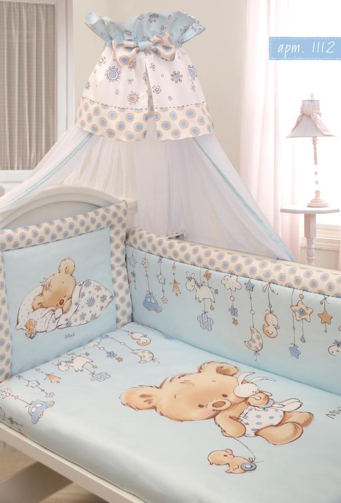Комплект в кроватку 7 предметов – Mika, сатин, голубойДетское постельное белье<br>Комплект в кроватку 7 предметов – Mika, сатин, голубой<br>