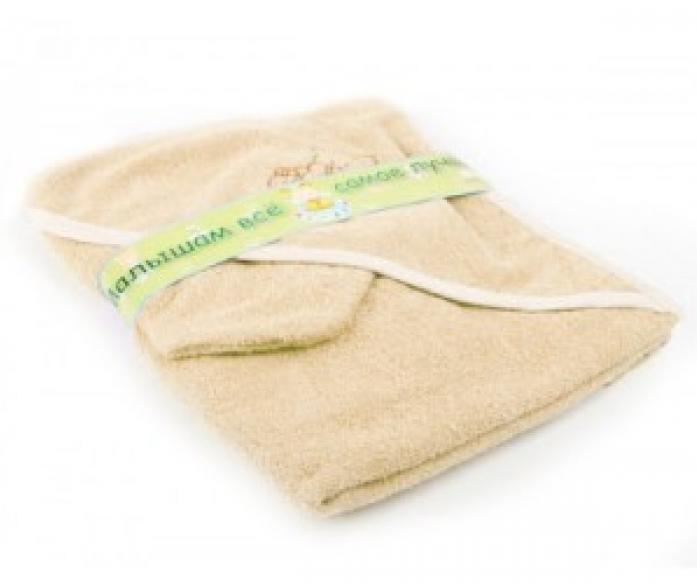 Пеленка-полотенце для купания с варежкой, бежевая - Ванная комната и гигиена, артикул: 168757