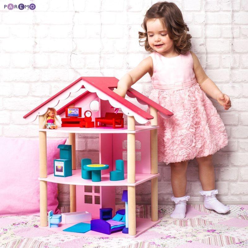 Трехэтажный домик для куклы с 14 предметами мебели  Роза Хутор - Кукольные домики, артикул: 167652