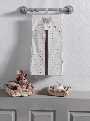 Прикроватная сумка серии Cute Bear бежевая, 100% хлопок, размер 30 х 65 см.Декор и хранение<br>Прикроватная сумка серии Cute Bear бежевая, 100% хлопок, размер 30 х 65 см.<br>