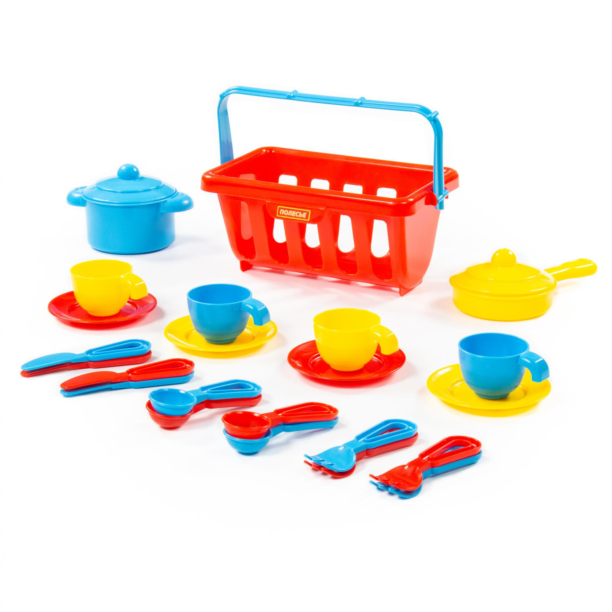 Набор детской посуды TOP chef с корзинкой №2 на 4 персоны в сеточке