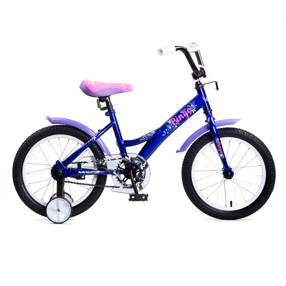 Купить Детский велосипед Navigator Bingo сине-розовый, колеса 16 , стальная рама, стальные обода, ножной тормоз