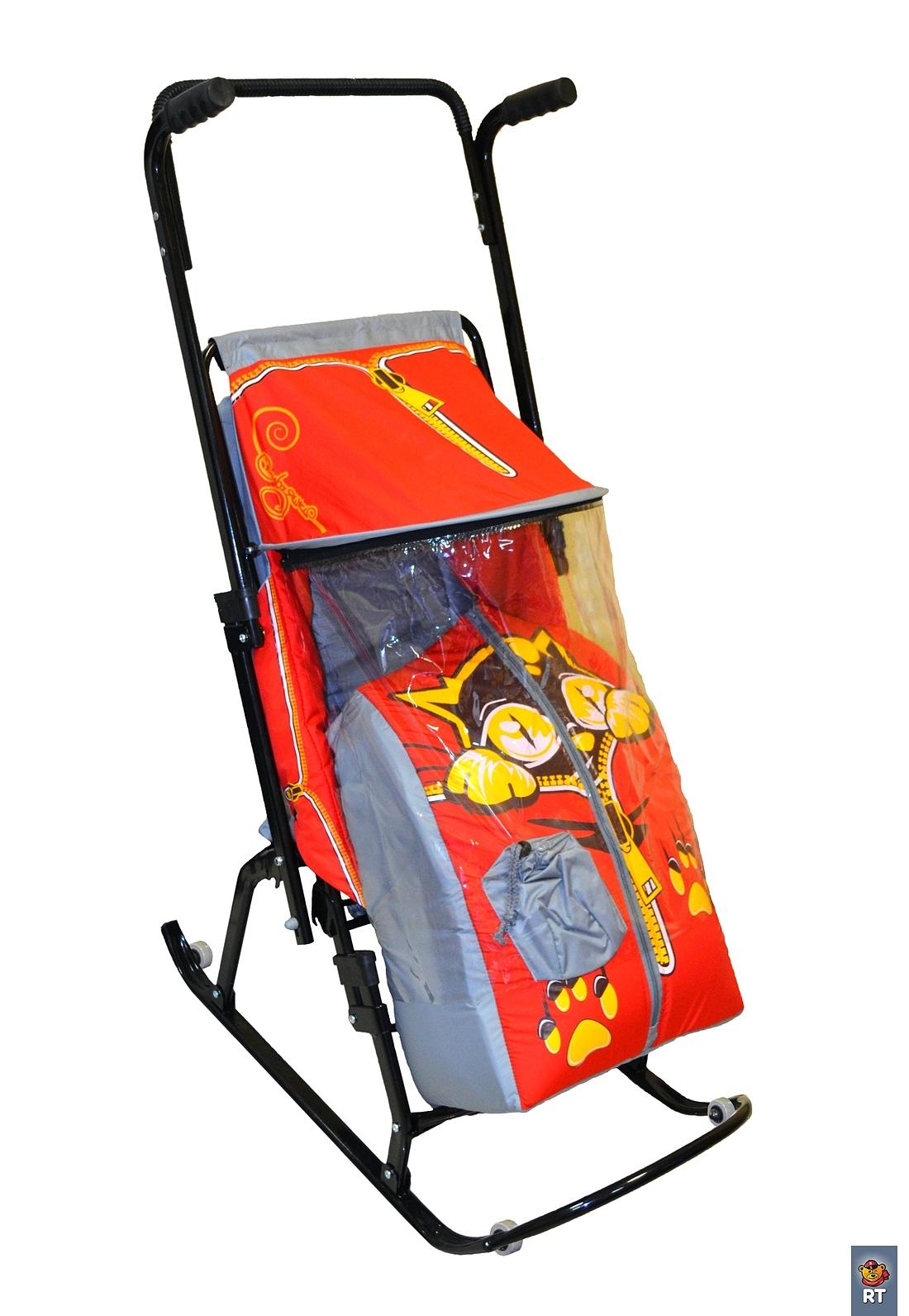 Санки-коляска Снегурочка-4-Р Котенок, цвет: серый-красныйСанки и сани-коляски<br>Санки-коляска Снегурочка-4-Р Котенок, цвет: серый-красный<br>