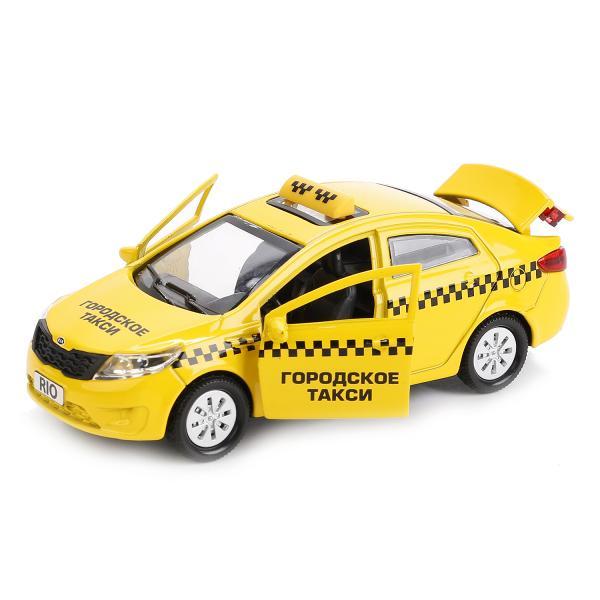Машина металлическая Kia Rio Такси 12 см, открываются двери и багажник, инерционнаяГородская техника<br>Машина металлическая Kia Rio Такси 12 см, открываются двери и багажник, инерционная<br>
