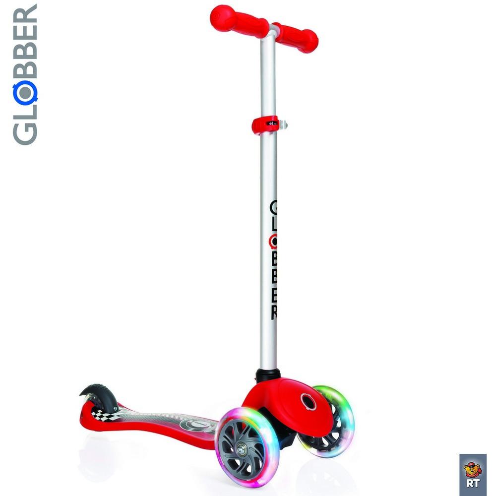 Самокат Y-SCOO Globber Primo Fantasy с 3 светящимися колесами Racing RedТрехколесные самокаты<br>Самокат Y-SCOO Globber Primo Fantasy с 3 светящимися колесами Racing Red<br>
