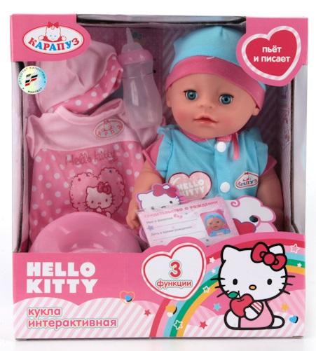 Купить Пупс - Hello Kitty, 30 см, 3 функции: пьет, писает, закрывает глазки, Карапуз