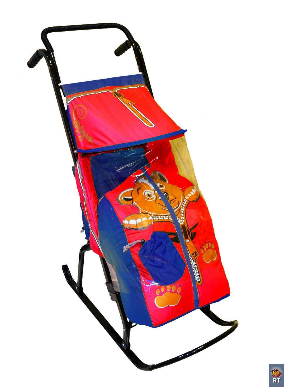 Купить Санки-коляска - Снегурочка-2-Р – Медвежонок, цвет синий-красный, RT