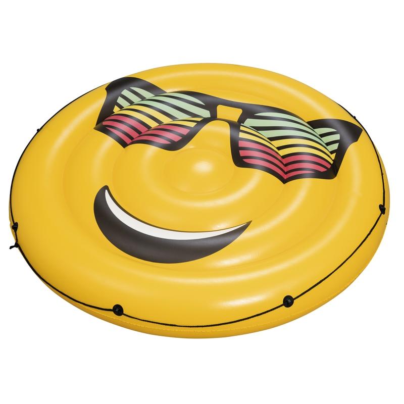 Надувной круглый матрас для плавания Смайл, 188 см. фото