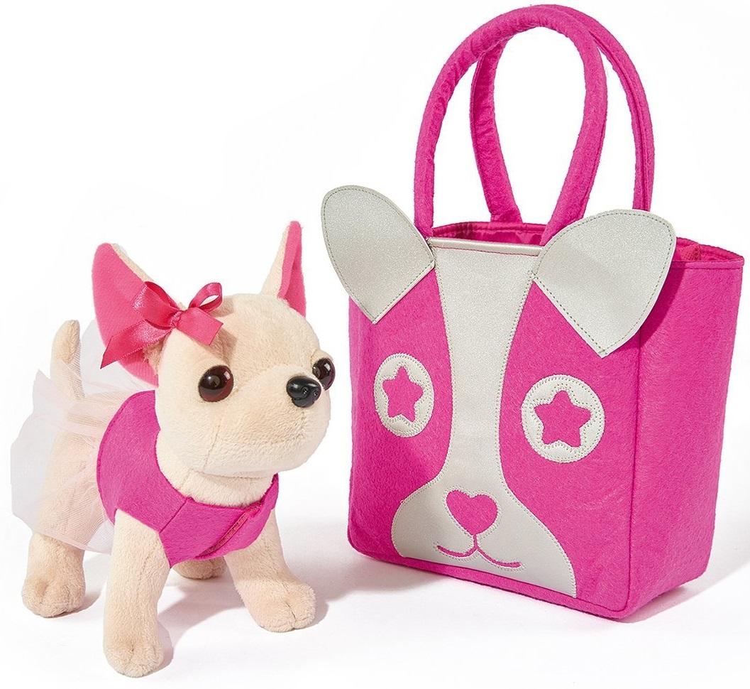 Плюшевая собачка Чихуахуа с розовой сумкой, 20 см.Chi Chi Love - cобачки в сумочке<br>Плюшевая собачка Чихуахуа с розовой сумкой, 20 см.<br>