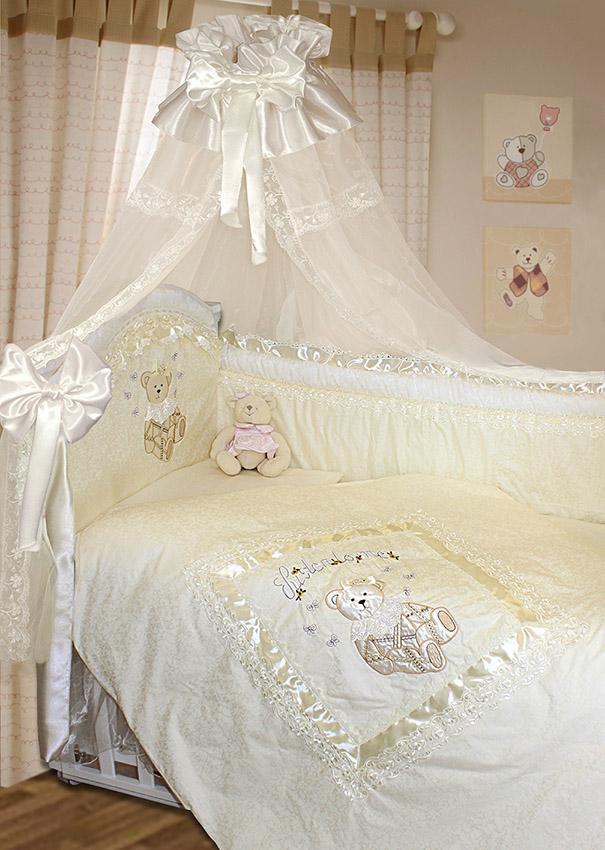 Комплект в кроватку – Рафаэлло, 10 предметов, молочныйДетское постельное белье<br>Комплект в кроватку – Рафаэлло, 10 предметов, молочный<br>