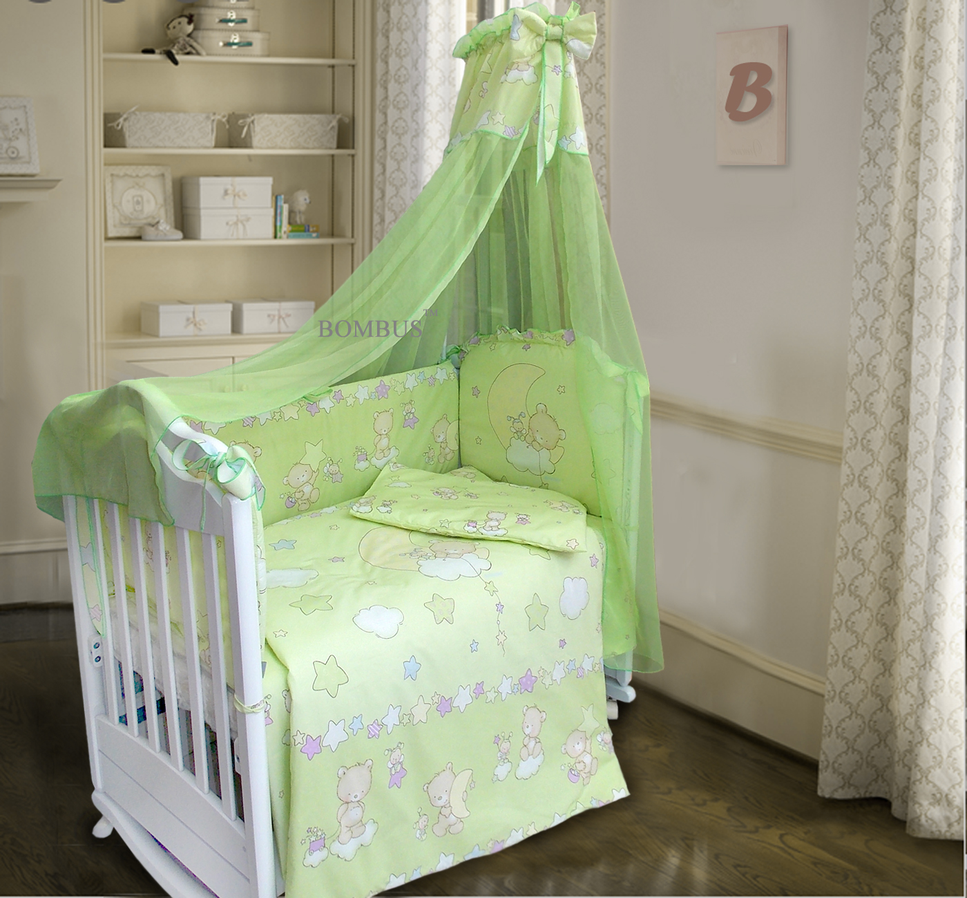 Бампер в кроватку - Павлуша, зеленый