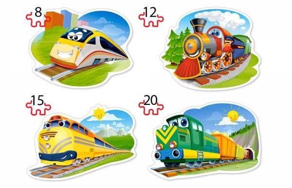 Пазлы контурные Castorland 8,12,15,20 деталей, Забавные паровозикиПазлы<br>Пазлы контурные Castorland 8,12,15,20 деталей, Забавные паровозики<br>