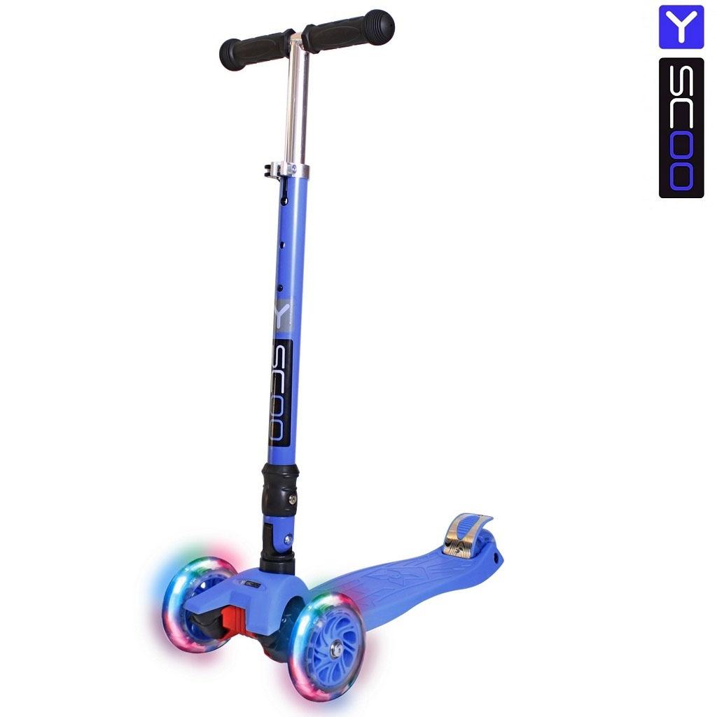 Самокат Y-Scoo 35 Maxi Fix Shine темно-синий, со светящимися колесамиТрехколесные самокаты<br>Самокат Y-Scoo 35 Maxi Fix Shine темно-синий, со светящимися колесами<br>
