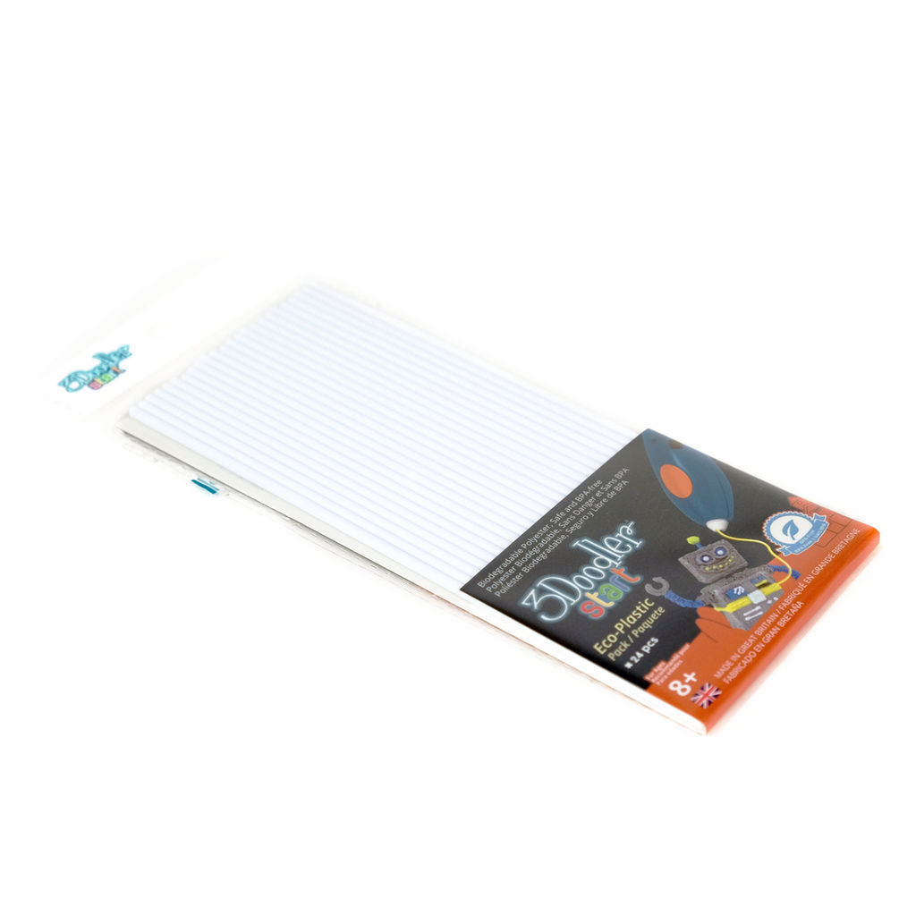 Эко-пластик к 3Д ручке 3Doodler Start, цвет белый, 24 шт, Limited, 3DS-ECO01-WHITE-24) - Детский 3D принтер QIXELS, артикул: 174468