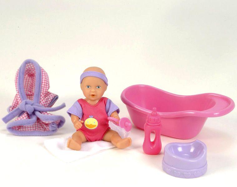 Пупсик с аксессуарамиИнтерактивные пупсы New Born Baby и др.<br>Пупсик (пьет и писает) + ванночка и различные аксессуары. <br>Предназначен для детей от 3х лет. <br>Изготовлен из высококачественной пластмассы.<br>Размер:  12 см<br>