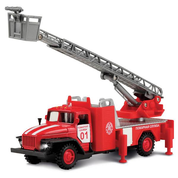 Купить Инерционная машина металлическая «Урал. Пожарная служба» свет, звук 1:43, Технопарк
