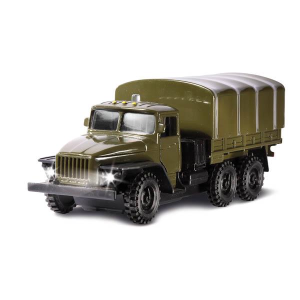 Машина металлическая инерционная - Урал военный, открывающиеся двери и капотВоенная техника<br>Машина металлическая инерционная - Урал военный, открывающиеся двери и капот<br>